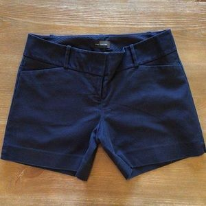 The Limited Cotton Blend Tailored Navy Blue Short